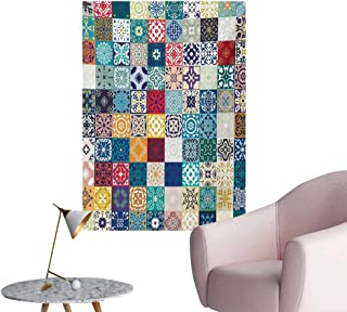 Anzhutwelve Moroccan Poster Wall Decor Patchwork Pattern with Different Colorful Arabic Figures Original Tunisian ArtfulMulticolor W32 xL36 Poster Print