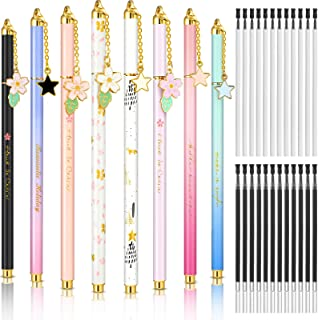 8 Pieces Metal Ballpoint Pens with 24 Pieces Replacement Refills, 0.35 mm and 0.5 mm Fine Point Black Gel Ink Pens, Roller...