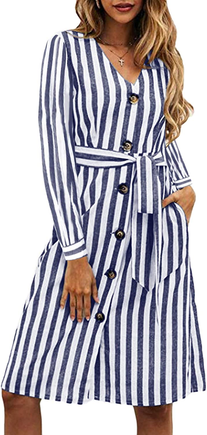 CNFIO Women's Long Sleeve Midi Dress Striped Belted Dresses Casual Button Down Dress with Pockets