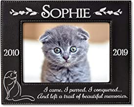 Personalized Engraved (Gold or Silver) Pet Loss Black Leather Picture Frame Cat Memorial Sympathy Gift in Loving Memory for Cats