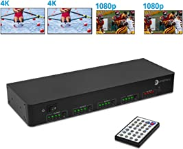 gofanco 4x4 HDMI Matrix Switch 4K 60Hz YUV 4:4:4 HDR with Auto Downscaling (Output 4K & 1080p Together) & Alexa Echo Voice Control, HDMI 2.0 Matrix Switcher HDCP 2.2, 18Gbps, EDID, IR, RS-232