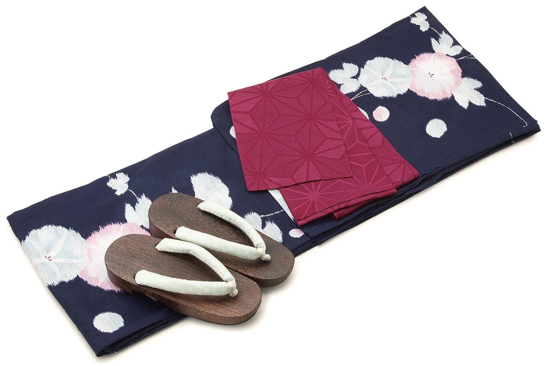 レディース浴衣セット[浴衣/半幅帯] bonheur saisons 紺色 ネイビー 赤紫色 朝顔 あさがお 花 綿 紅梅織 浴衣セット 女性 フリーサイズ