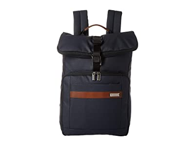 Briggs & Riley Kinzie Street Medium Fold-Over Backpack (Navy) Backpack Bags