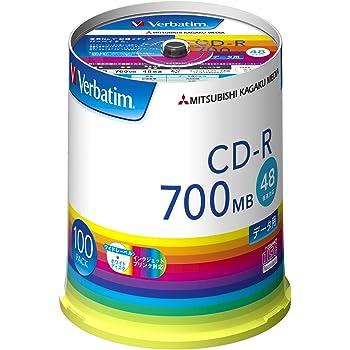 Verbatim バーベイタム 1回記録用 CD-R 700MB 100枚 ホワイトプリンタブル 48倍速 SR80FP100V1E