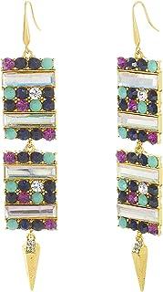 Steve Madden Women's Alloy Rhinestone Multi Color Drop and Dangle Earrings - SME590527GD