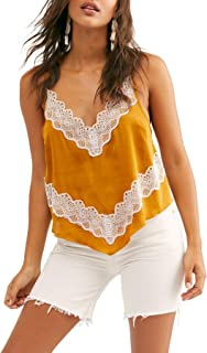 Free People Women's Your Eyes Lace Trim Satin Camisole Gold Size X-Large