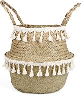 Handmade Woven Storage Baskets Foldable Laundry Straw Patchwork Wicker Rattan Seagrass Belly Garden Flower Pot Planter Basket,as picture4,32x28cm