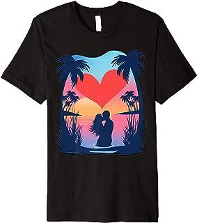 Couple On The Beach Island Sunset Valentines Day Gift Premium T-Shirt