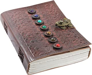 $31 » Leather Book of Shadows Journal, Unique Writing Notebook Travel Diary with Chakra Gem Stones and Latch - Plain Unlined Pages, 6 x 9 Inches