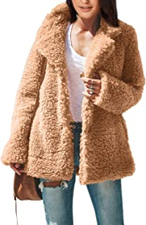 Women's Long Sleeve Lapel Button Down Pocket Jacket Faux Shearling Shaggy Coat Outwear