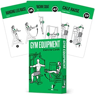 Gym Equipment Exercise Cards, Set of 62 - Guided Workouts...