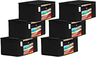 Kuber Industries 6 Piece Non Woven Fabric Saree Cover Set with Transparent Window, Extra Large, Black-CTKTC31869