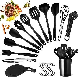 HEPAZ Ustensiles de Cuisine,14 pcs ustensiles de Cuisine en Silicone,Antiadhésive Anti-Rayures et Résistante à la Chaleur ...