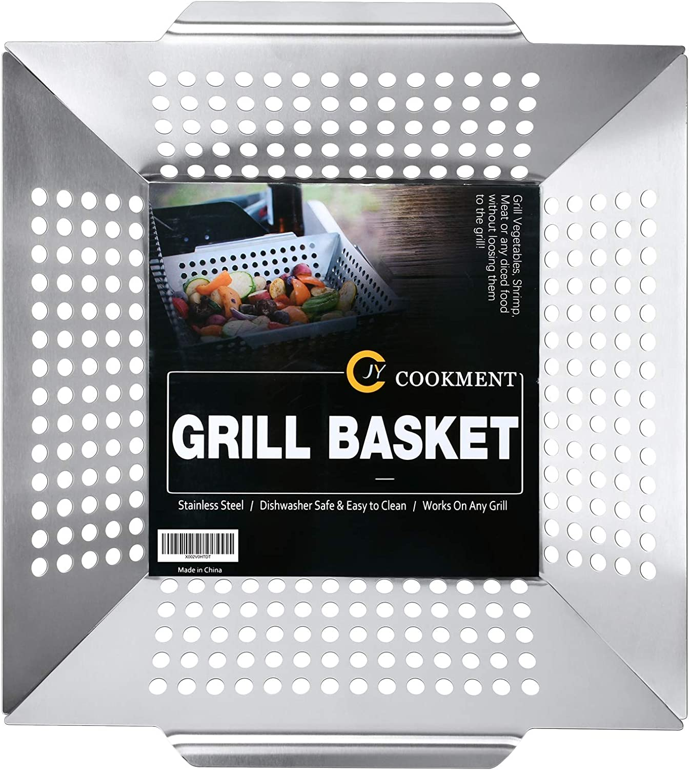 JY COOKMENT Grill Basket- Stainless Steel Grilling Basket for Indoor and Outdoor Use, Heavy Duty Vegetables Grill Basket for Veggies and Kabob, Suitable for All Grills, Dishwasher Safe : Patio, Lawn & Garden