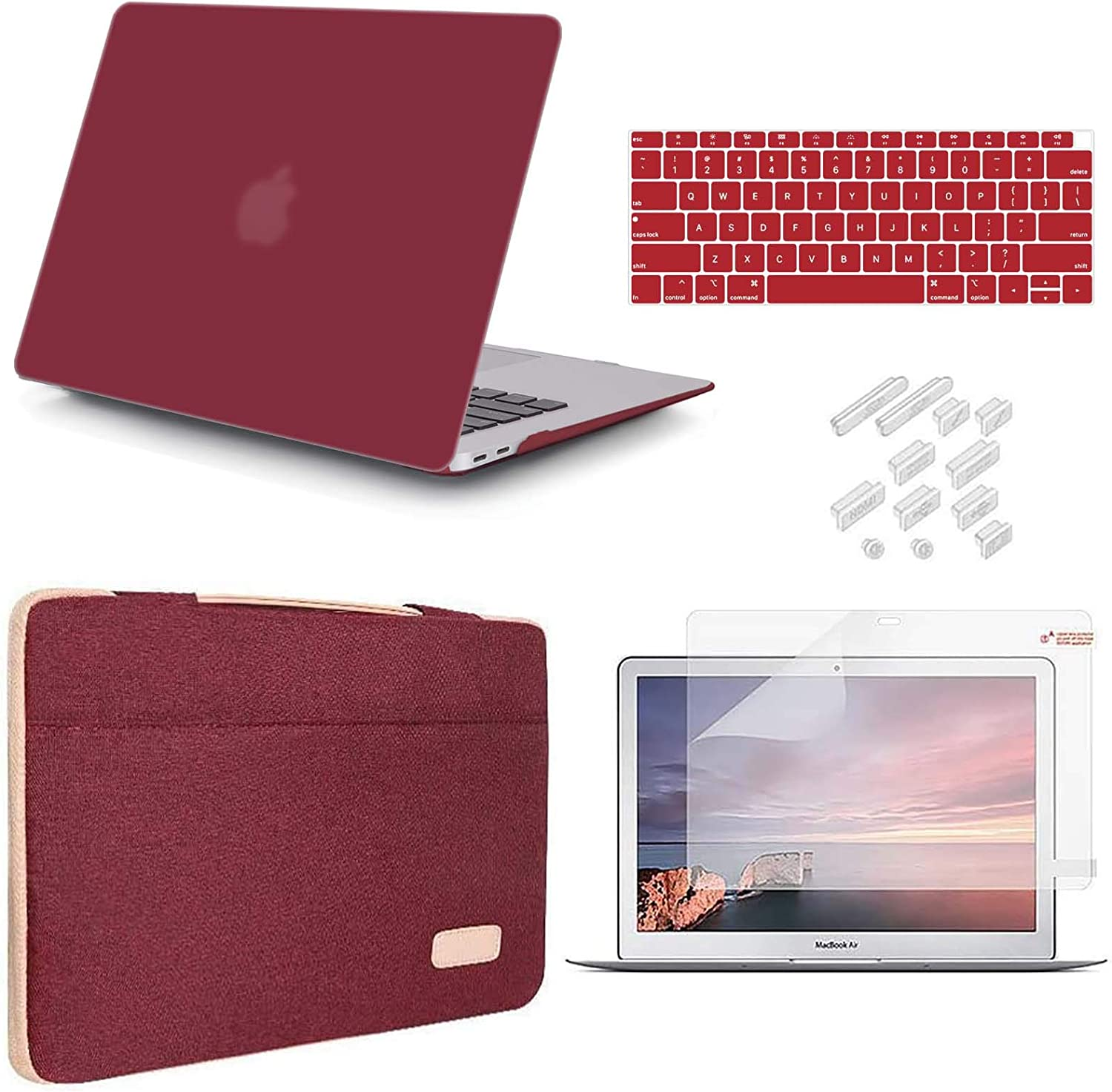 iCasso Compatible MacBook Air 13 inch Case 2020 2019 2018 Release A2337 M1 A2179 A1932 Bundle, Plastic Hard Case Shell, Sleeve Bag, Screen Protector, Keyboard Cover and Dust Plug - Wine Red