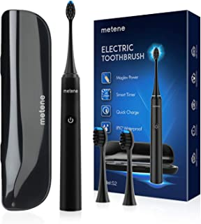 Metene Electric Toothbrush, Rechargeable Power Sonic Toothbrush with 40000VPM, 5 Optional Modes, Smart Timers&2 DuPont Brush Heads, Electronic Toothbrush for Adults with Travel Case, IPX7 Waterproof
