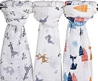 2 PackDinosaur /& Tropical Bamboo Cotton Baby Boy Blanket Toddler Blanket Bamboo Muslin Swaddle Blankets for Boys Large Baby Muslin Blanket Swaddle Wrap Dinosaur /& Tropical Woodland /& Jungle