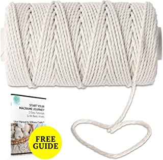 White Macrame Cord 4mm x 109yd Macrame Supplies - Best for Wall Plant Hanger Craft Making Dream Catcher Supplies - 4mm Natural White Macrame Rope by Stillness Crafts