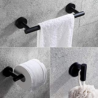 Gexmil Stainless Steel Bathroom Hardware Set Matte Black 3 Pieces Bathroom Hardware Accessories Sets Wall Mounted Double Towel Bar Towel Holder Hook Toilet Paper Holder Mounting Tools Included