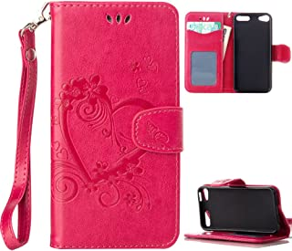 iPod Touch 5 Case, iPod Touch 6 Case, Alkax PU Leather Wallet Kickstand Magnet Flip Folio Stand Protective Cover with Card ID Card Slots Wrist Strap for Apple iPod Touch 5 6th Generation (Hot Pink)