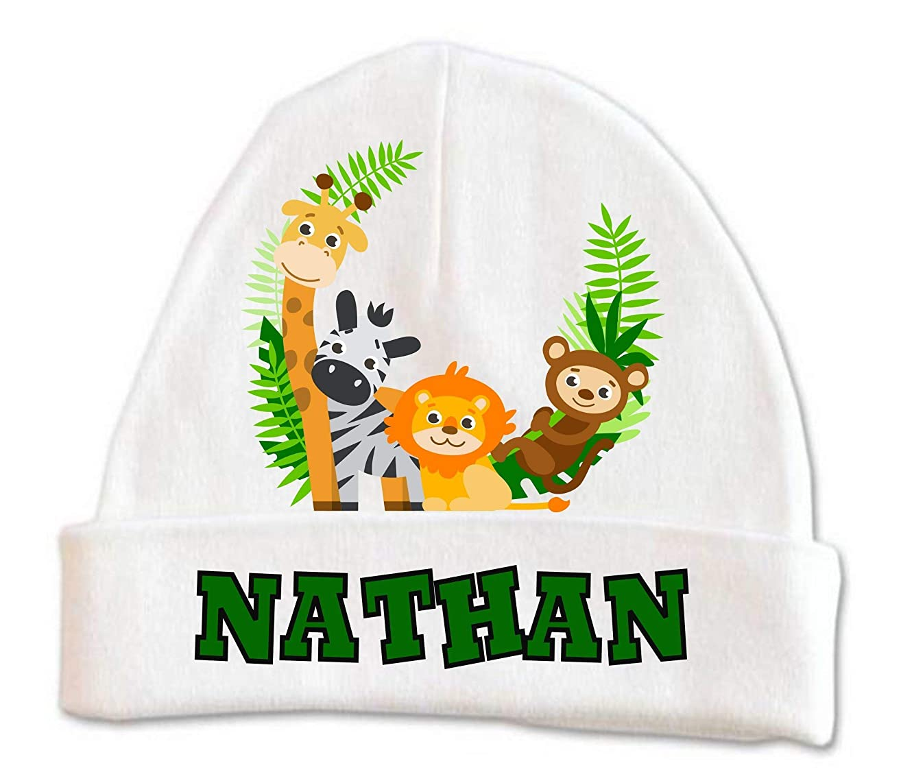 Cute Zoo Jungle Animals Baby Beanie Hat Boys Winter Kids Warm Toddler Custom Infant Newborn Personalized 0-6 months