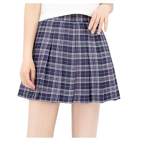 DAZCOS US Size Plaid Skirt High Waist Japan School Girl Uniform Skirts