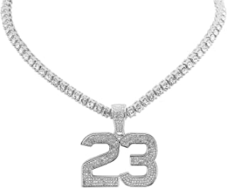 White Gold-Tone Iced Out Hip Hop Bling Jordan Number 23 Pendant 1 Row Stones Tennis Chain 16