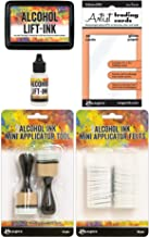 Tim Holtz Alcohol Ink Lift-Ink and Mini Applicator Bundle - Lift-Ink Pad, Reinker, Mini Applicator Tool, Applicator Round Felts and ATC Gloss Paper - 5 Items