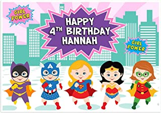 Superhero Girls Wonder Woman Super Girl Birthday Banner Dessert Cake Table Personalized Party Backdrop