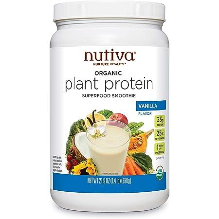 Nutiva Organic Plant Protein Superfood Smoothie, Vanilla, 1.4 Pound USDA Organic, Non-GMO, Non-BPA Vegan, Gluten-Free, Keto & Paleo 23g Protein Shake & Meal Replacement