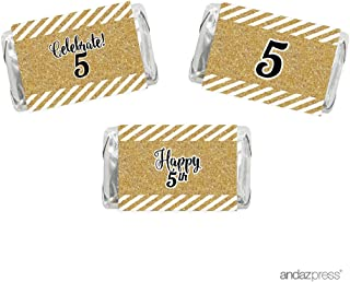 Andaz Press Milestone Hershey's Miniatures Labels Stickers, Celebrate 5, 5th Birthday or Anniversary, 36-Pack, Printed Gold Glitter, Not Real Glitter