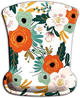 ITNRSIIET Mouse Pad, Ergonomic Mouse Pad with Memory Foam Wrist Rest Support, Gaming Mouse Pad with Lycra Cloth, Non-Slip PU Base for Computer Laptop Home Office Travel, Flowers