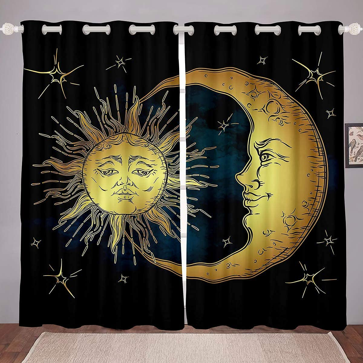 JOOCAR Sun and Moon Boho Grommet Max 41% OFF Insula Blackout Houston Mall Curtains Exotic