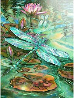 DIY 5D Diamond Painting by Number Kits, Crystal Rhinestone Embroidery Paint with Diamonds, Full Drill Canvas Art Picture for Home Wall Decor, Dragonfly, 13.58x16.92in