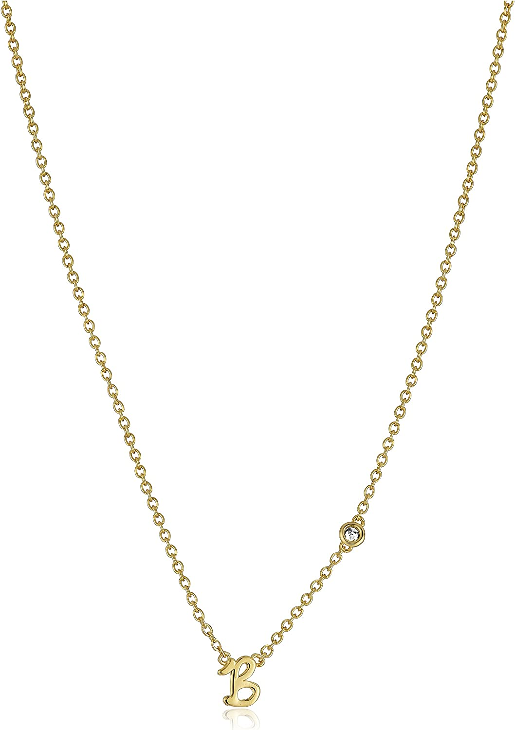 Syd by SE A Initial Necklace with Diamond Bezel