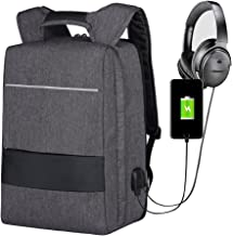 Business Laptop Backpack 17.3 Inch Waterproof, Mbuynow Durable Slim Laptop Backpack with USB Charging Port and AUX Jack 3.5mm, Anti-Theft, Compatible with Suitcase for Travel/Business/College(Grey)