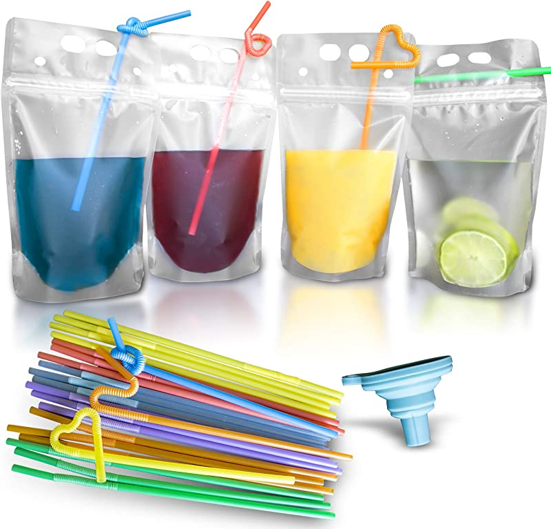 100 Pcs Double Zipper Plastic Clear Drink Pouches With Straw No Leakage Drink Reusable Juice Bags Stand Up Disposable Drink Pouch Smoothie Bag For Freezing Juice Heavy Duty Plastic BPA Free