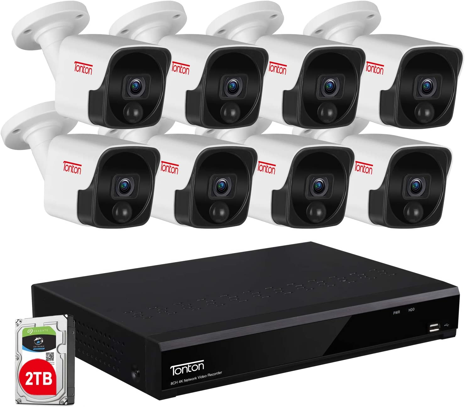 【4K Ultra HD NVR&Audio Recording】 Tonton 8MP Ultra HD PoE NVR Security System,8CH Video NVR with 2TB HDD and 8PCS 5MP Outdoor Waterproof Bullet IP Cameras,Heat&Motion Sensing,True Plug and Play(Gray)