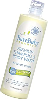 Organic Baby Shampoo & Body Wash with Aloe, Cucumber, Citrus Essential Oils – Safe, Gentle, Tear Free – Eczema Friendly – ...