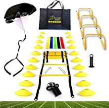Big B Pro Sports Speed Agility Training Set - Includes Ladder, 20 Cones with Holder, Running Parachute, Jump Rope, Resista...