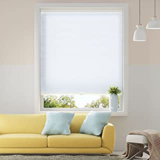 SBARTAR Honeycomb Cellular Shades Cordless Light Filtering for Windows Inside & Outside Mount, 29 x 64 inch, White(Light Filtering)