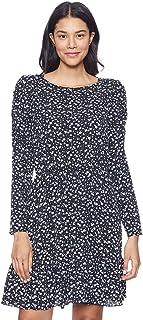 فستان قصة مستقيمة منقوش برقبة دائرية واكمام طويلة للنساء من ماتلان