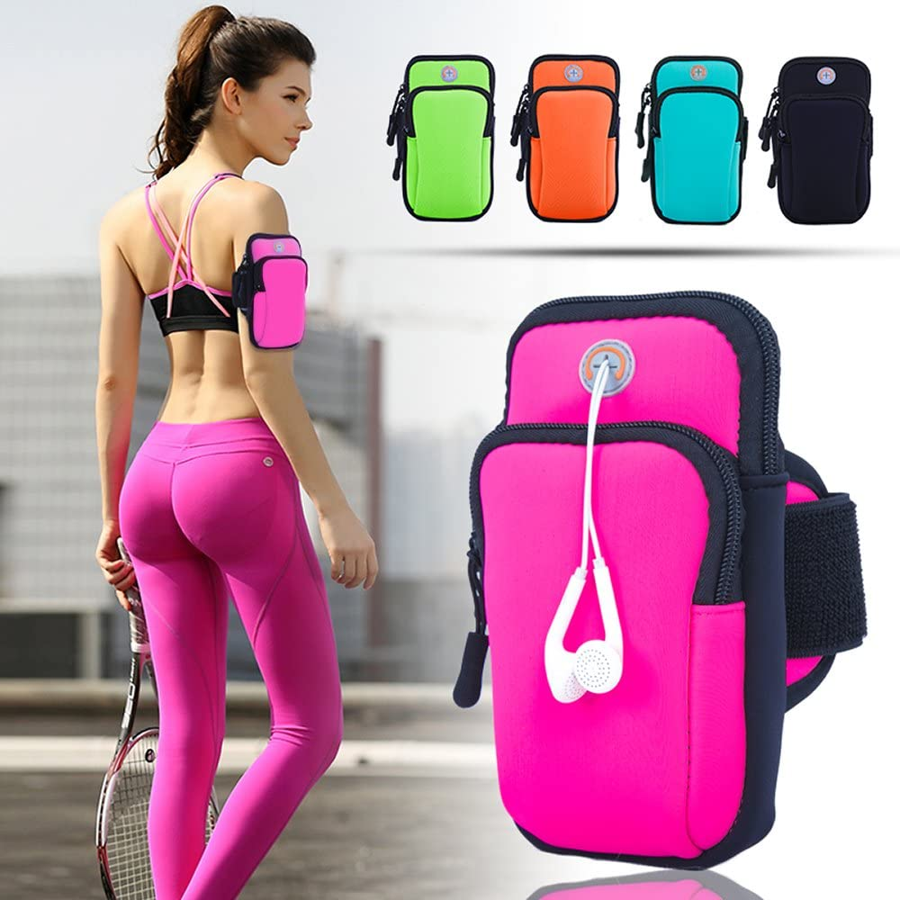 ANJ Outdoors Premium Elastic Water Resistant Running Armband for iPhone X, 8 Plus, 7, Galaxy Phones | Large Capacity Upper Arm Band to Hold Money, Cards and Keys | Ideal Running Phone Holder (Pink)