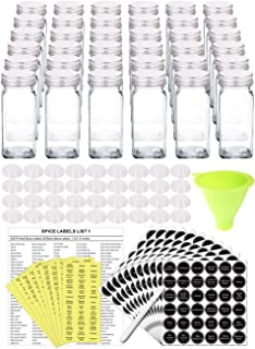 SWOMMOLY 36 Glass Spice Jars with 801 Spice Labels, Chalk Marker and Funnel Complete Set. 36 Square Glass Jars 4 OZ, Airtight Cap, Pour/sift Shaker Lid