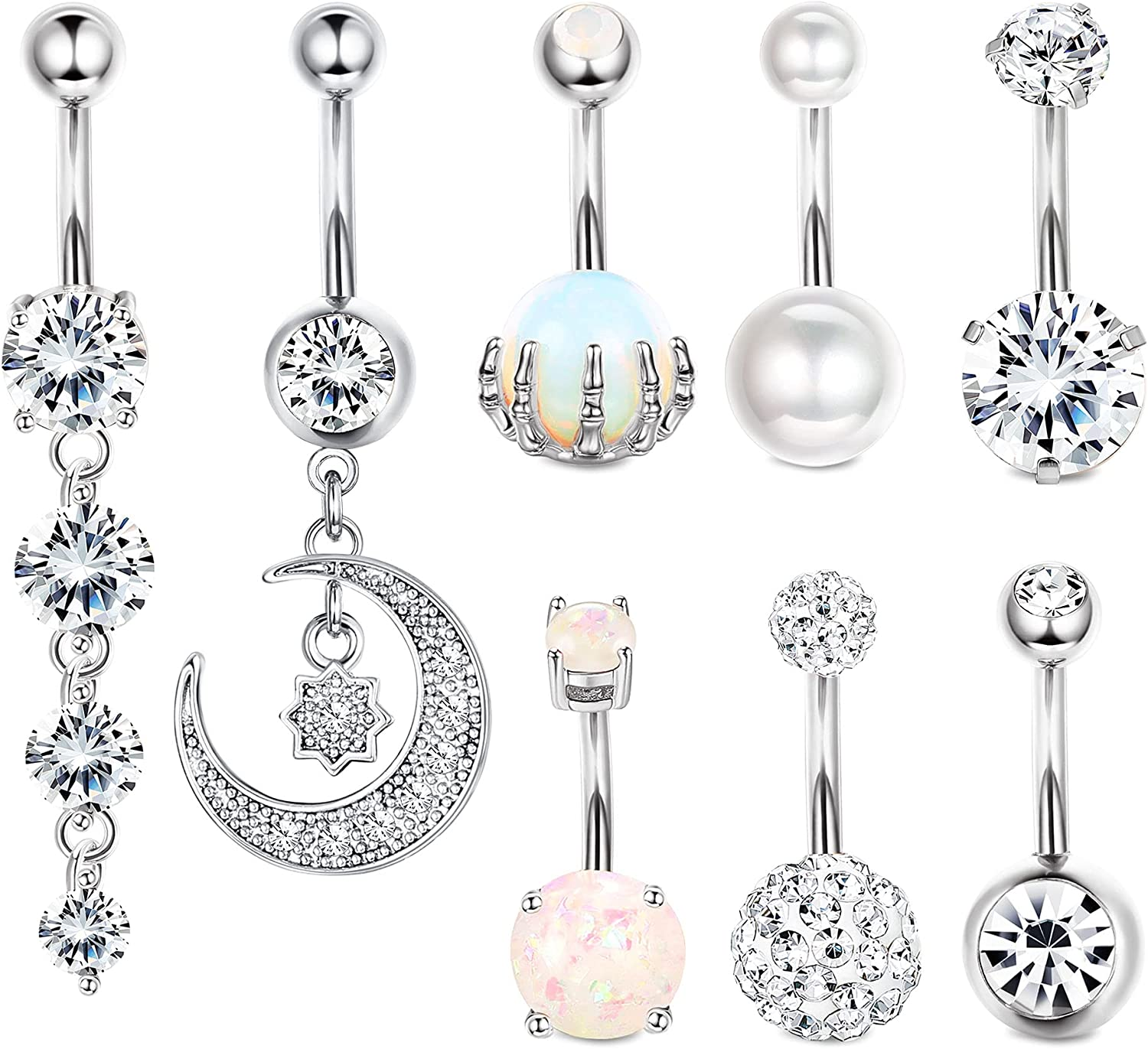 BodyBonita 8PCS 14G Stainless Steel Belly Button Rings for Women CZ Dangle Navel Rings Opal Belly Piercing Barbell Body Piercing Jewelry