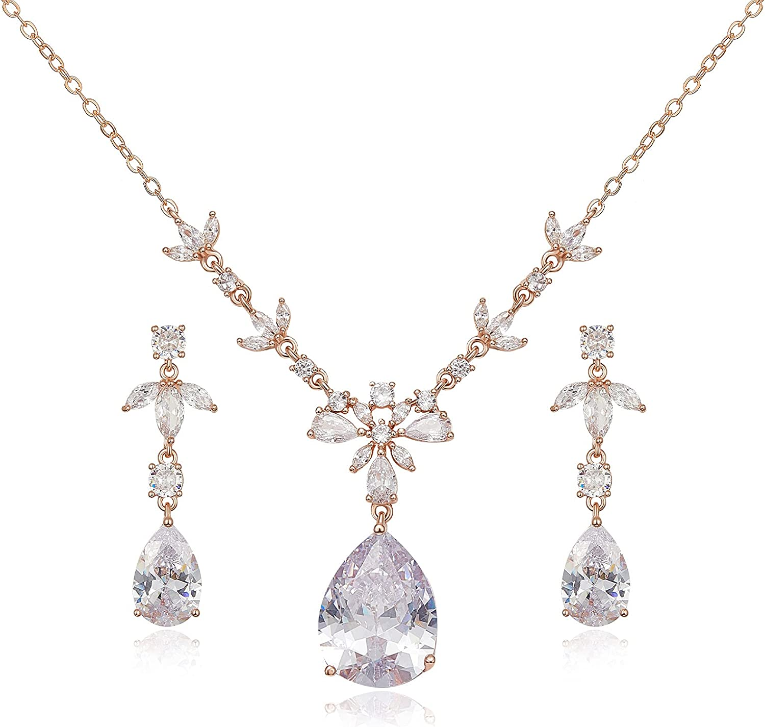 SWEETV Wedding Bridal Jewelry Sets for Brides, Bridesmaids, Teardrop Necklace Dangle Earring Bracelet Sets, Prom Jewelry Sets for Women Gifts