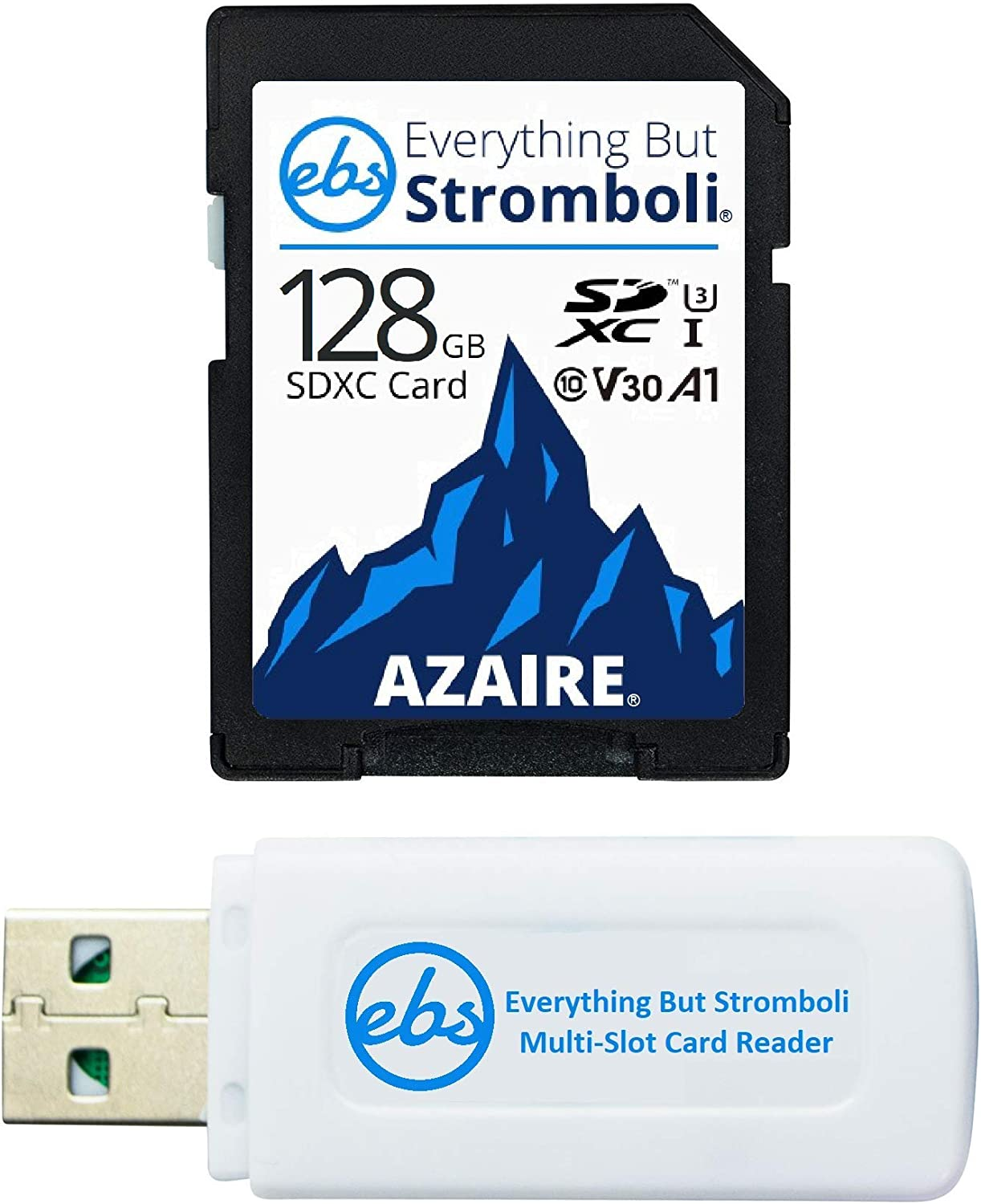Everything But Stromboli 128GB SD Card Class 10 UHS-1 U3 Speed C10 V30 128G SDXC Memory Card for Compatible Camera, Computer, Video Camcorder Bundle with (1) SD & Micro Card Reader