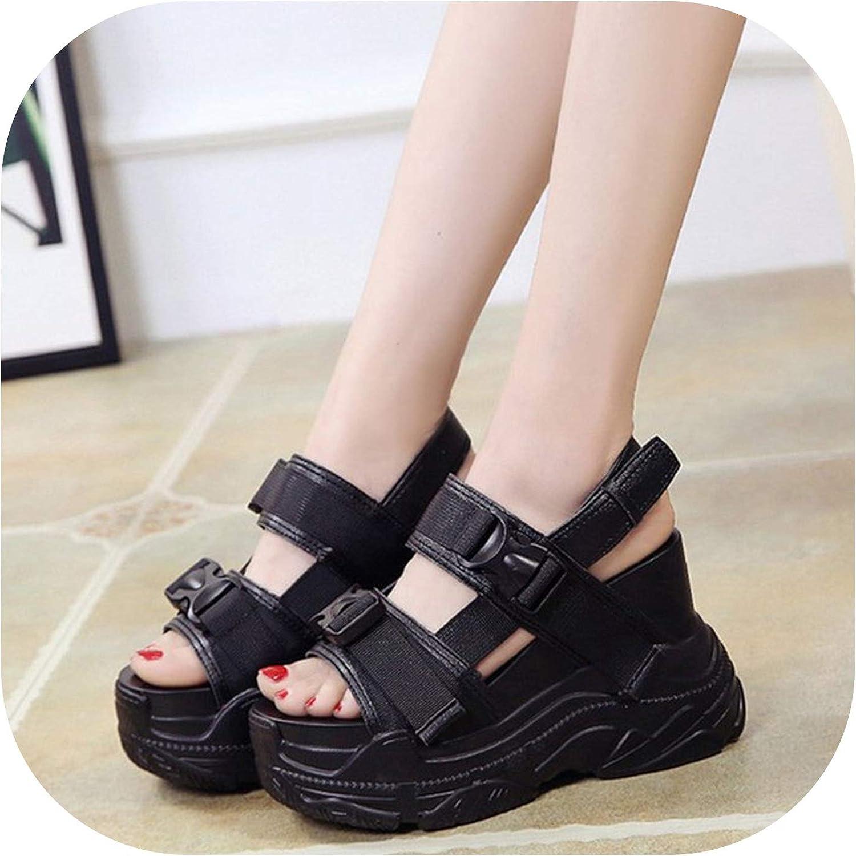 Plastic Buckle Platform Wedges Summer Sneakers Comfortable Chunky High Heels Girls Sandals