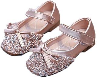 Enfants Chaussures en Cuir Couleur Unie Respirant Semelle Souple Bout Rond Strass Princesse Chaussures Filles Danse Perfor...