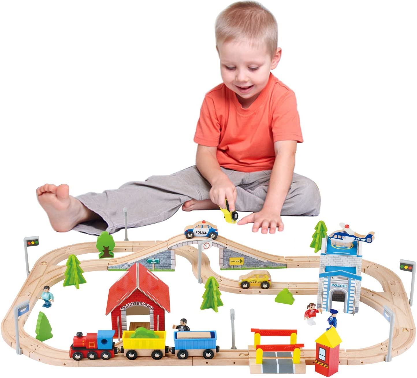 Wooden Train Set Toy with Max 90% OFF 2 Accessories Deluxe Dollhouse Limited time trial price 80Pcs